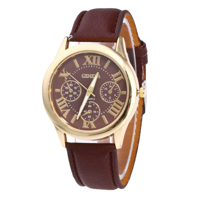 Roman Numeral Faux Leather Strap Watch - COFFEE