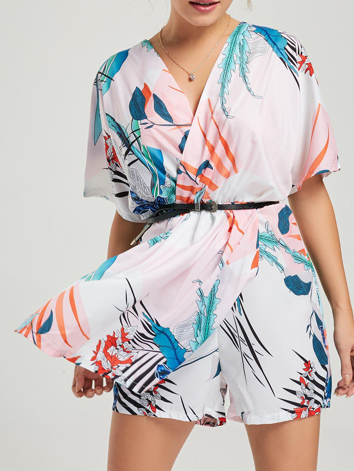 Print Short Sleeve Surplice Romper - WHITE L