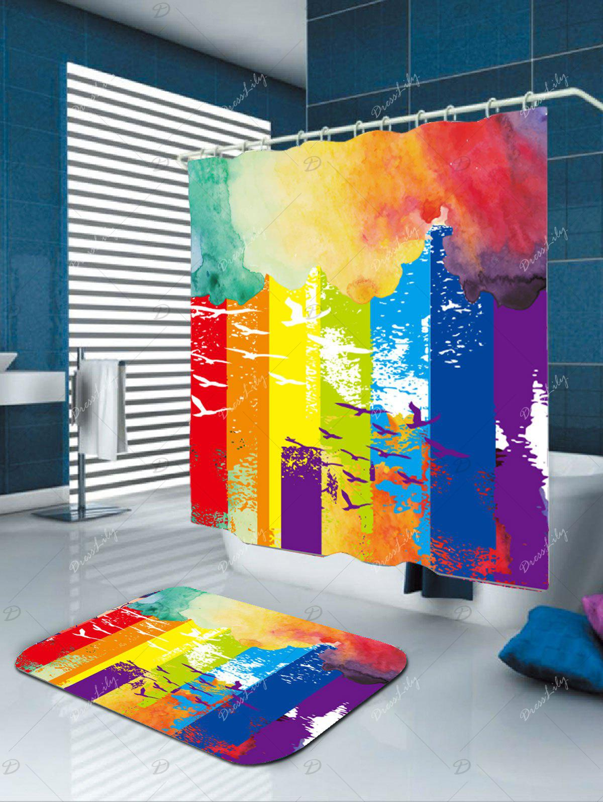 Oil Painting Bird Abstract Print Fabric Shower Curtain - COLORFUL W71 INCH * L79 INCH