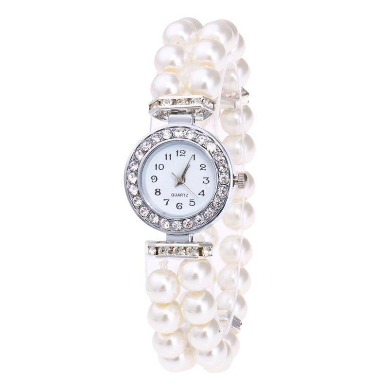 Faux Pearl Strap Bracelet Watch - WHITE