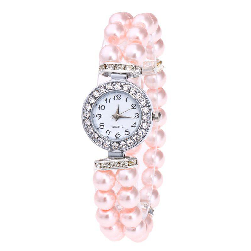Faux Pearl Strap Bracelet Watch - PAPAYA