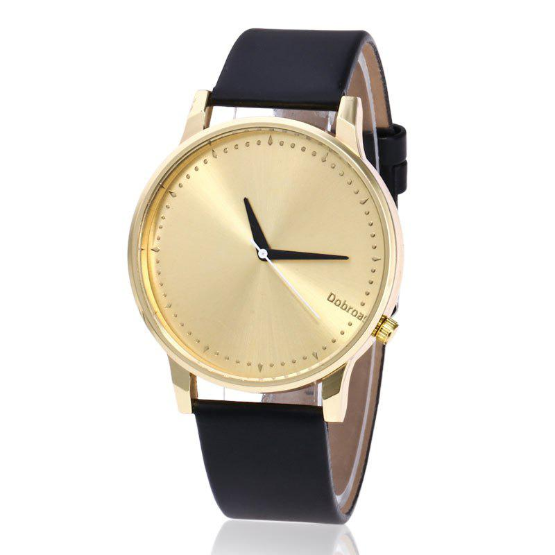 Minimalist Faux Leather Quartz Watch - NOIR OR