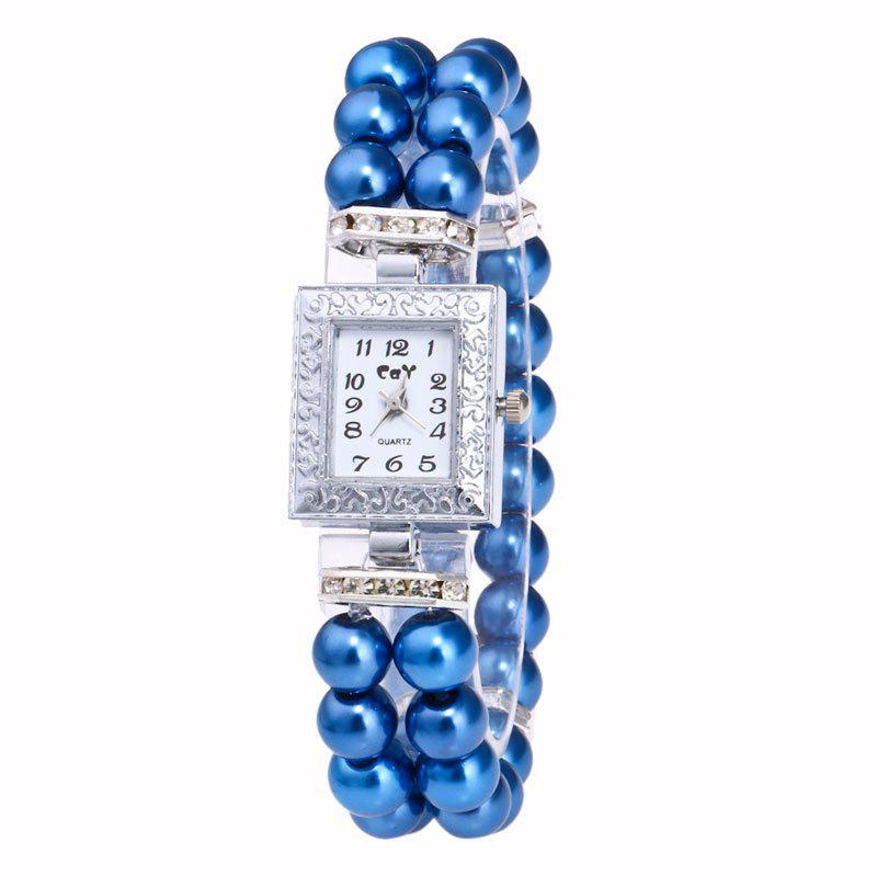 Rectangle Faux Pearl Layered Bracelet Watch - ROYAL