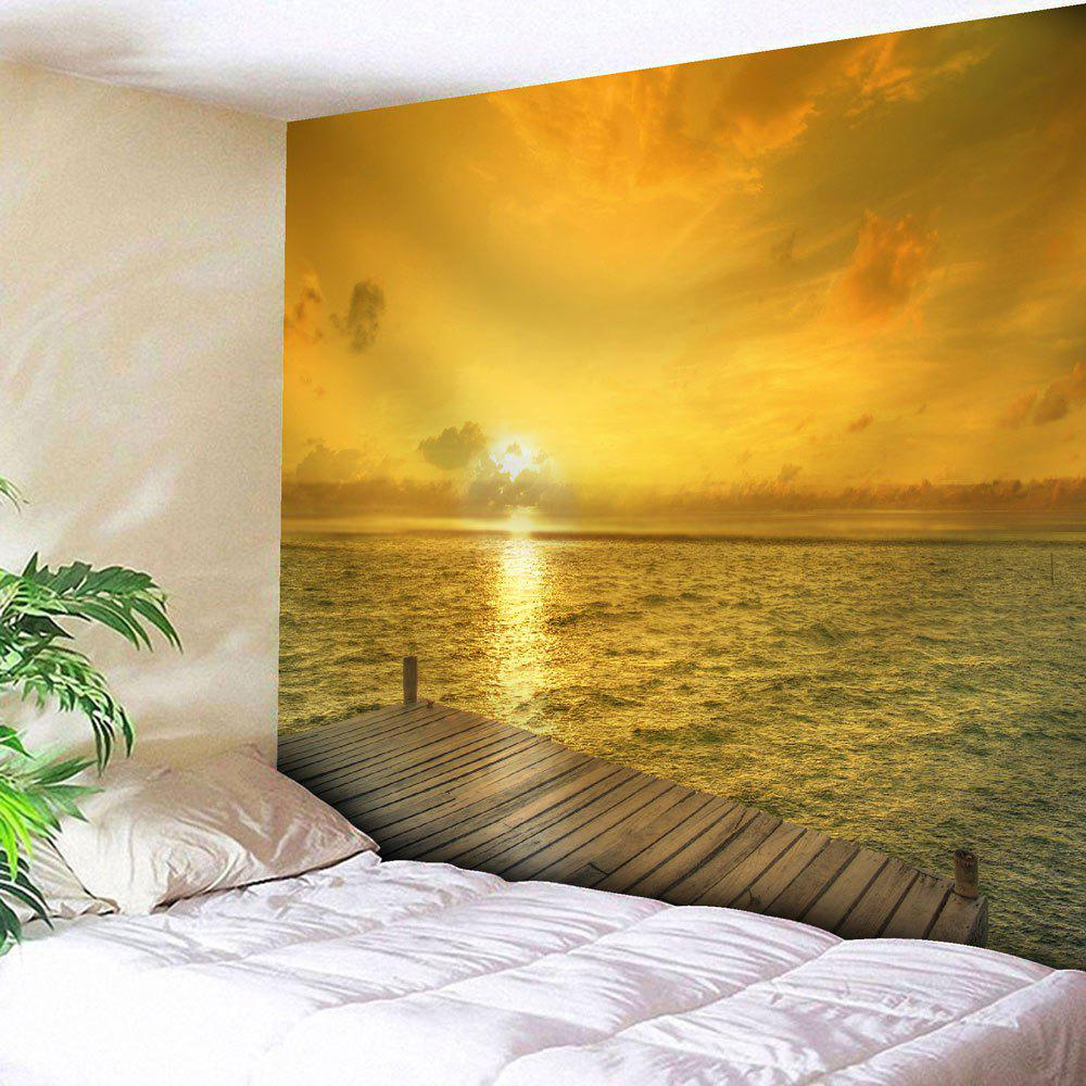 Microfiber Wall Hanging Seaside Sunset Print Tapestry - YELLOW W59 INCH * L79 INCH