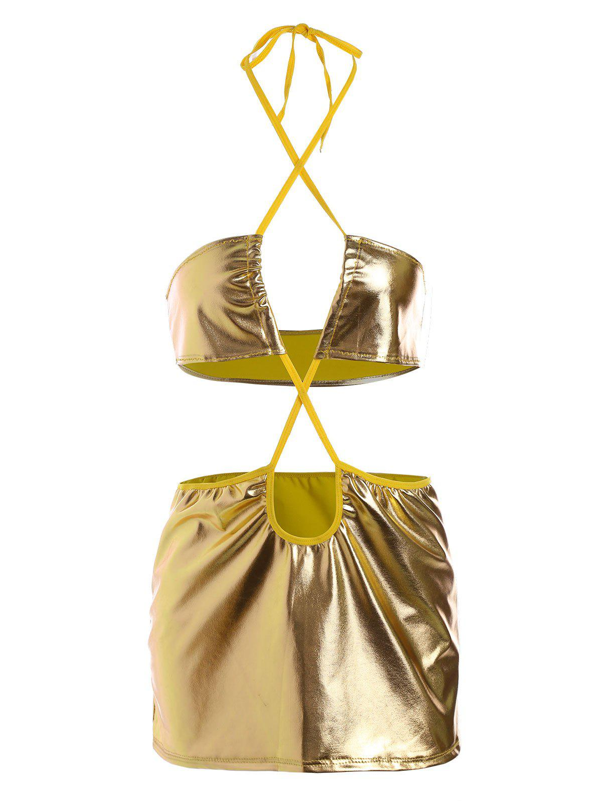 Metallic Color Cut Out Lingerie Dress - YELLOW XL