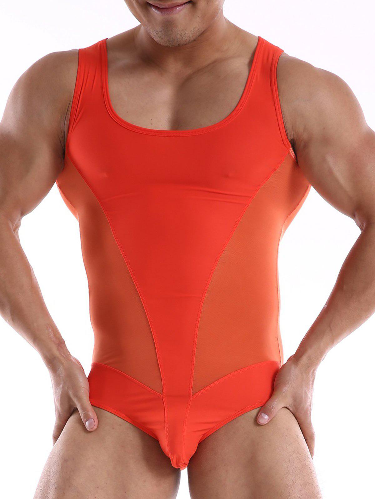 Tight Mesh Insert Tank Top Bodysuit - Tangerine M