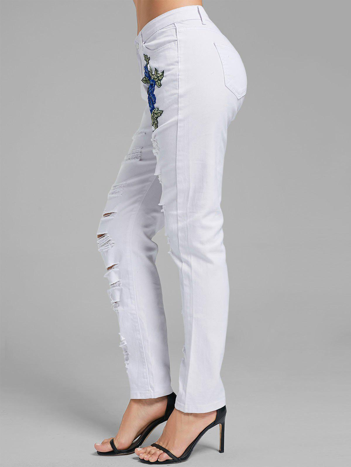 Floral Embroidered Ripped Denim Pants - WHITE M