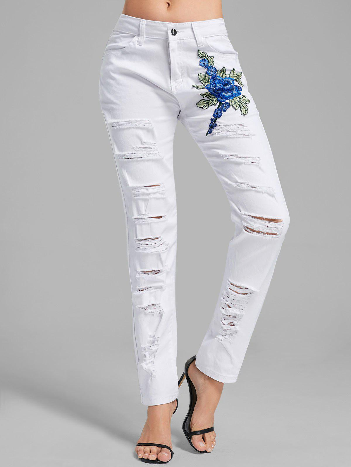 Floral embroidered ripped denim pants white xl in