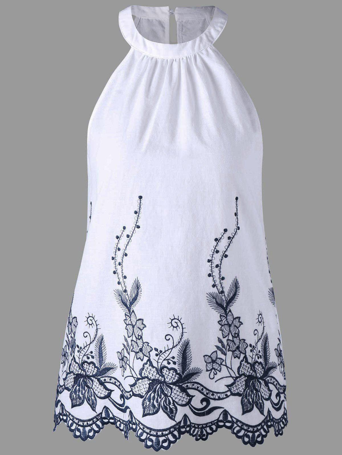 Embroidery Scalloped Edge Sleeveless Blouse - WHITE 2XL