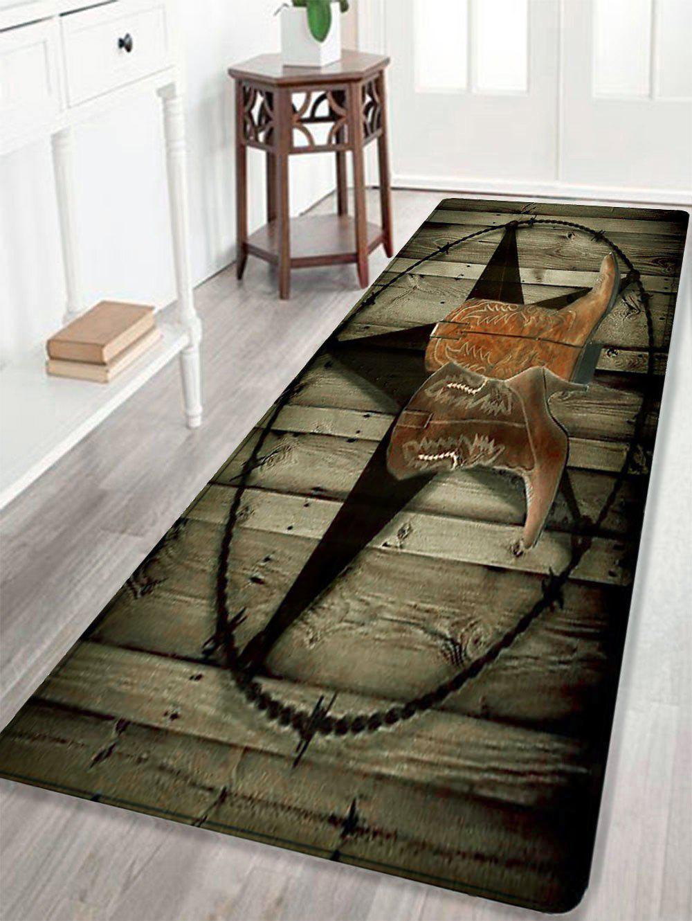 Cowboy Shoes Pattern Indoor Outdoor Area Rug - DUN W24 INCH * L71 INCH