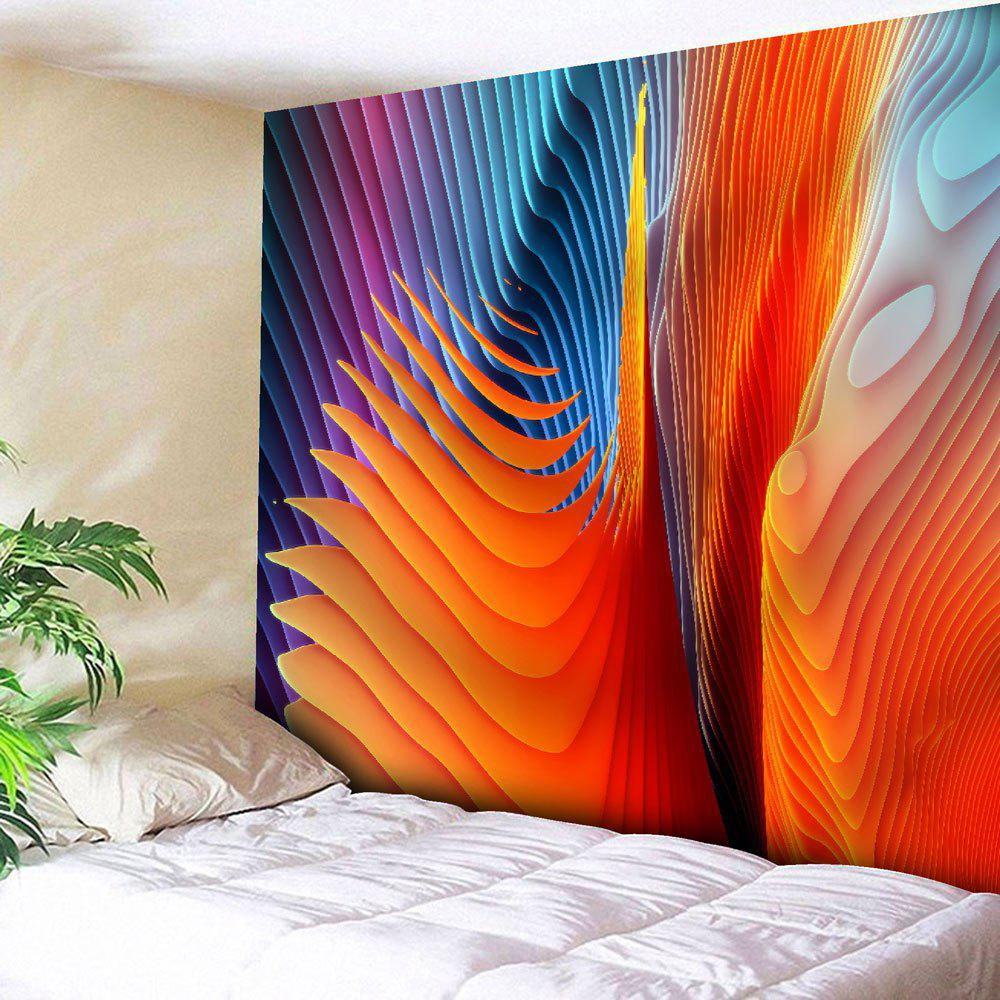 Microfiber Wall Hanging Colorful Twisted Striped Tapestry - COLORFUL GEOMETRIC W51 INCH * L59 INCH
