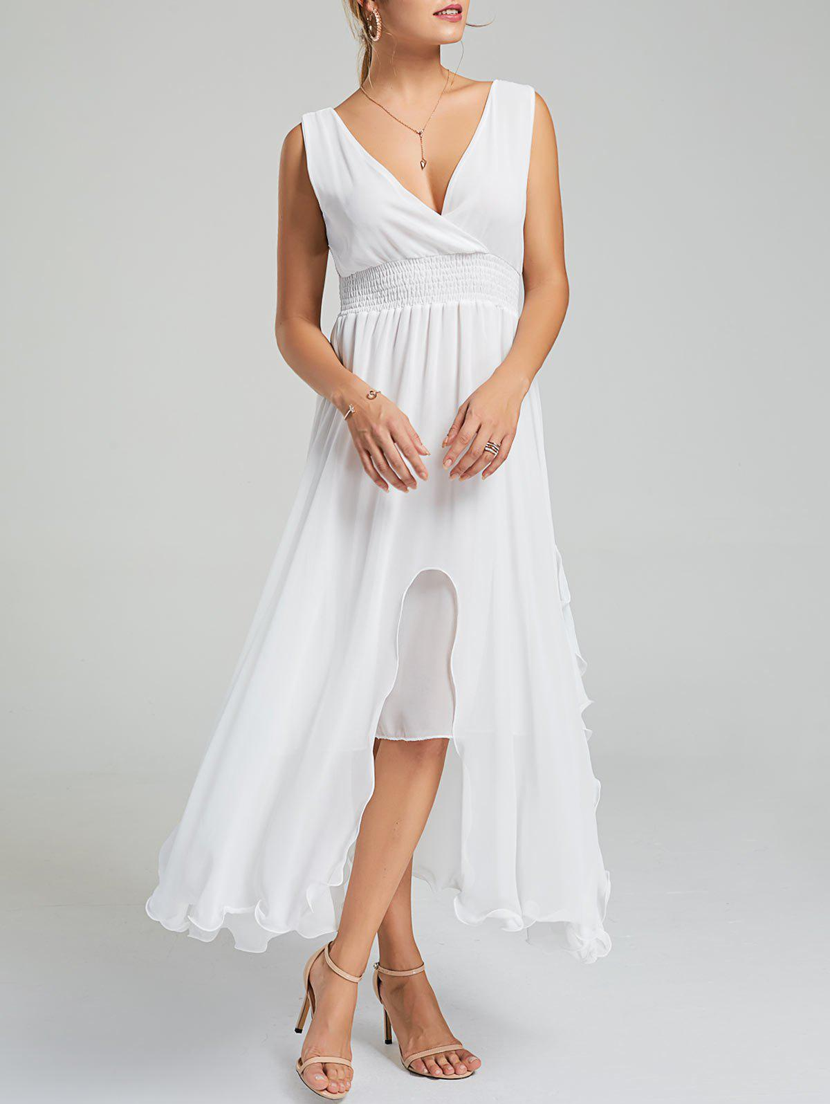 Empire Waist Chiffon Ruffle Dress - Blanc L