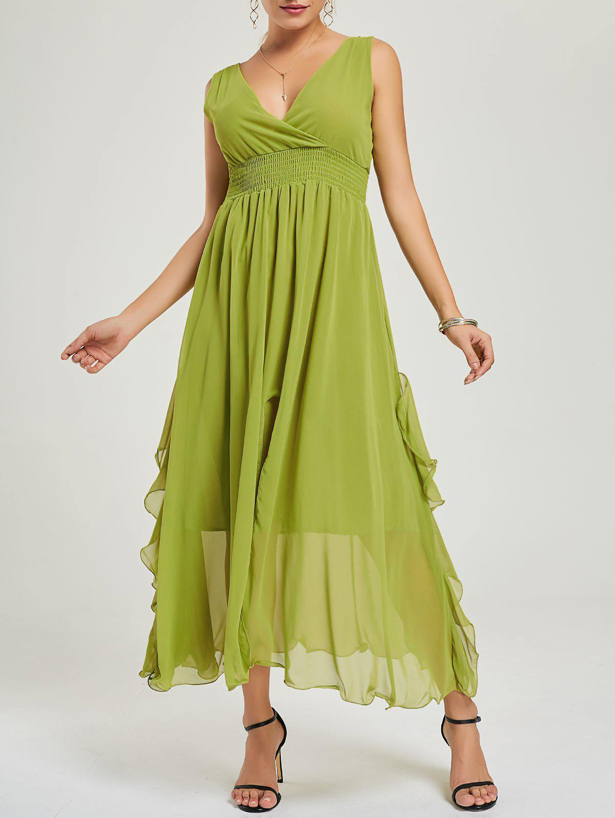 Empire Waist Chiffon Ruffle Dress - Vert M