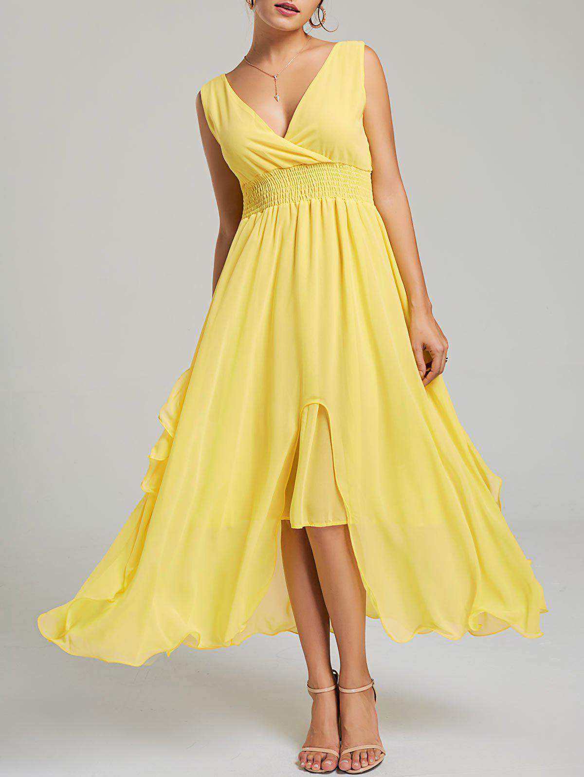 Empire Waist Chiffon Ruffle Dress - YELLOW M