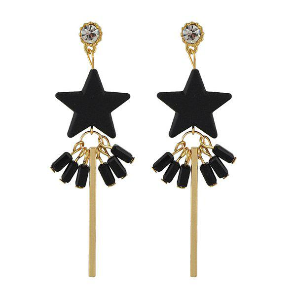 Rhinestone Bar Star Drop Earrings - BLACK