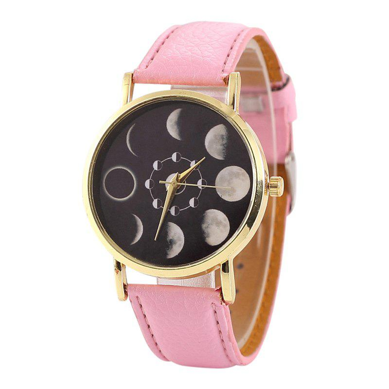 Faux Leather Lunar Eclipse Face Watch - PINK