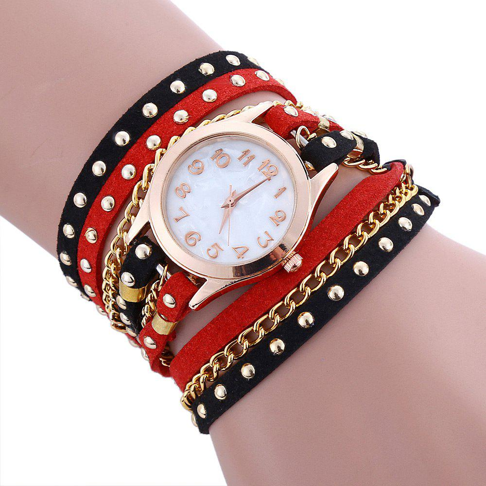 Chain Studed Faux Leather Bracelet Watch - RED/BLACK
