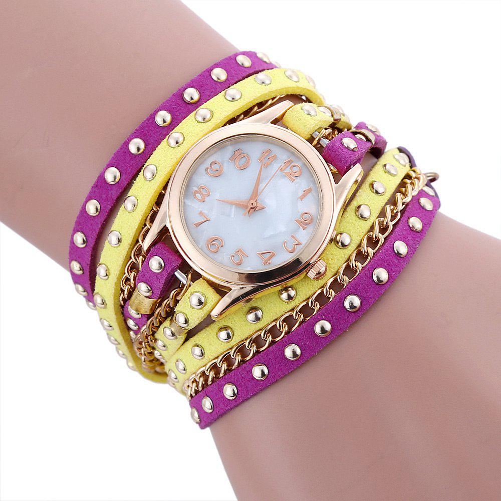 Chain Studed Faux Leather Bracelet Watch - YELLOW / PURPLE