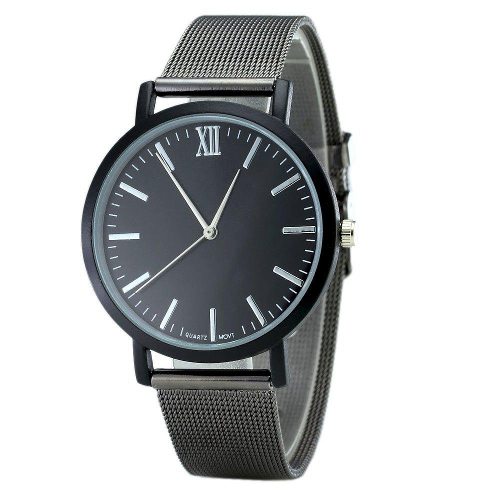 Alloy Mesh Band Minimalist Quartz Watch - BLACK