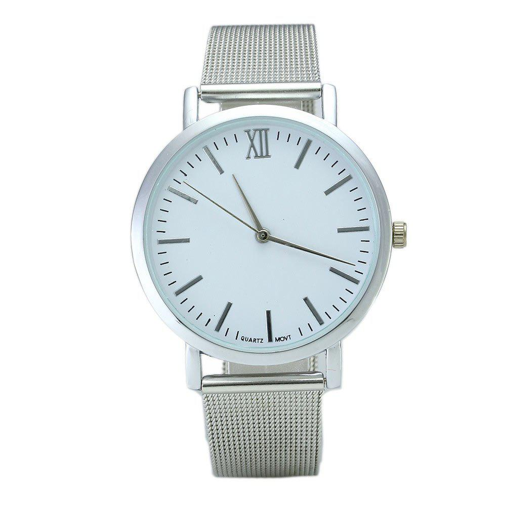Alloy Mesh Band Minimalist Quartz Watch - SILVER