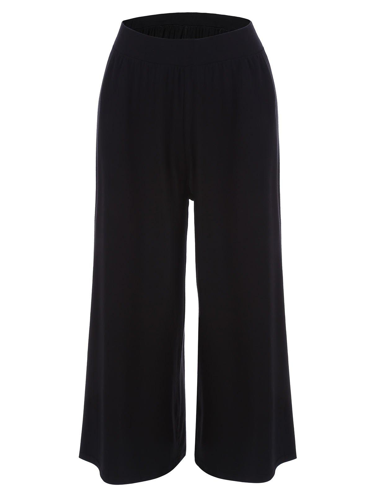 Casual Wide Leg Knit Pants - BLACK 2XL