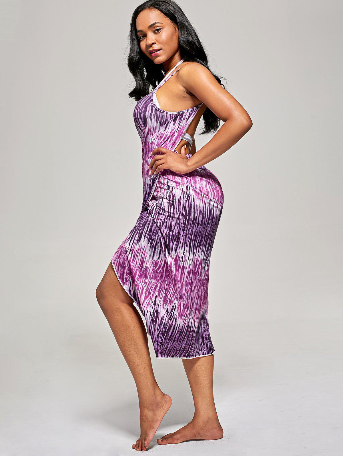 Printed Slip Wrap Cover Up Dress - PURPLE ONE SIZE