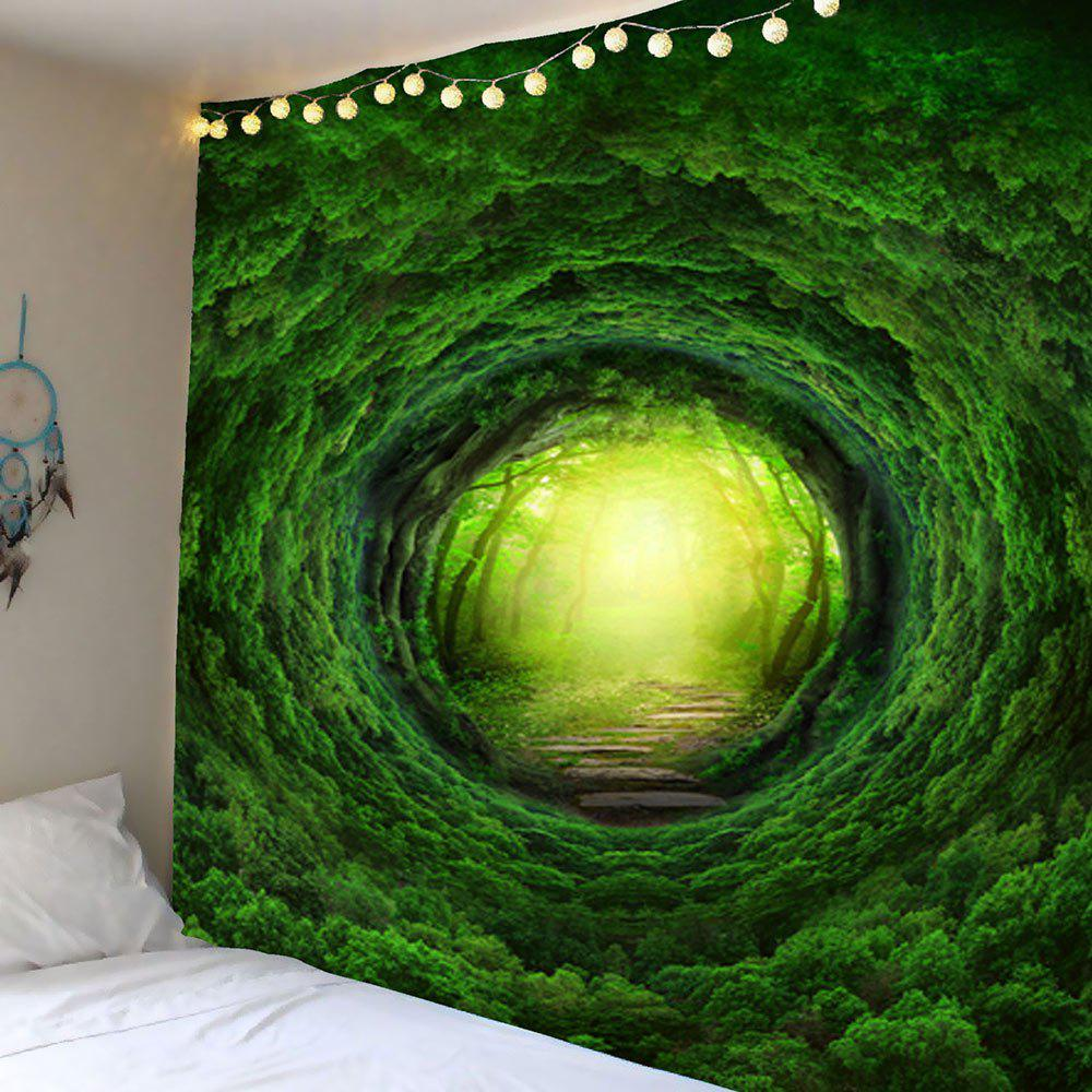 Nature Tree Hole Wall Art Tapestry - GREEN W79 INCH * L79 INCH