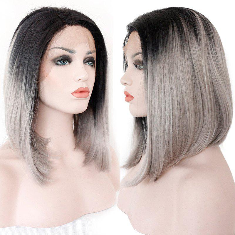 Medium Side Part Colormix Straight Bob Lace Front Synthetic Wig tsnomore black to blue synthetic lace front bob wig