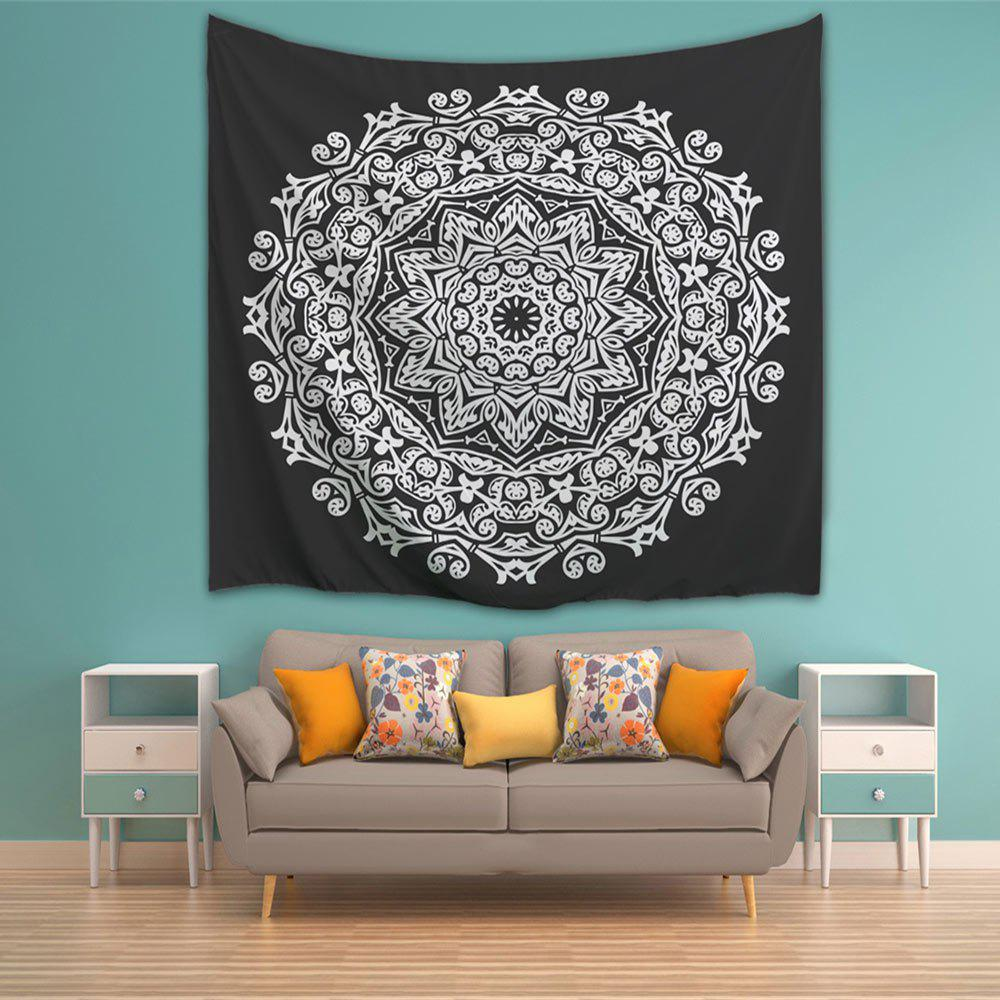Wall Art Bedroom Décoration de dortoir Tapis de mandala - Blanc Noir W71 INCH * L91 INCH