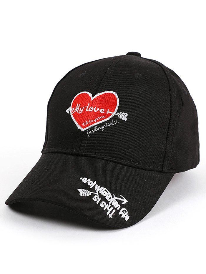 Heart Letters Embroidered Band Baseball Hat - BLACK