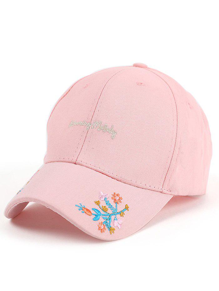 Floral Letters Embroidered Baseball Cap - PINK