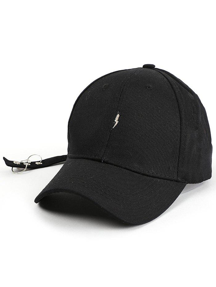 Circles Long Tail Lightning Embroidered Baseball Hat - BLACK