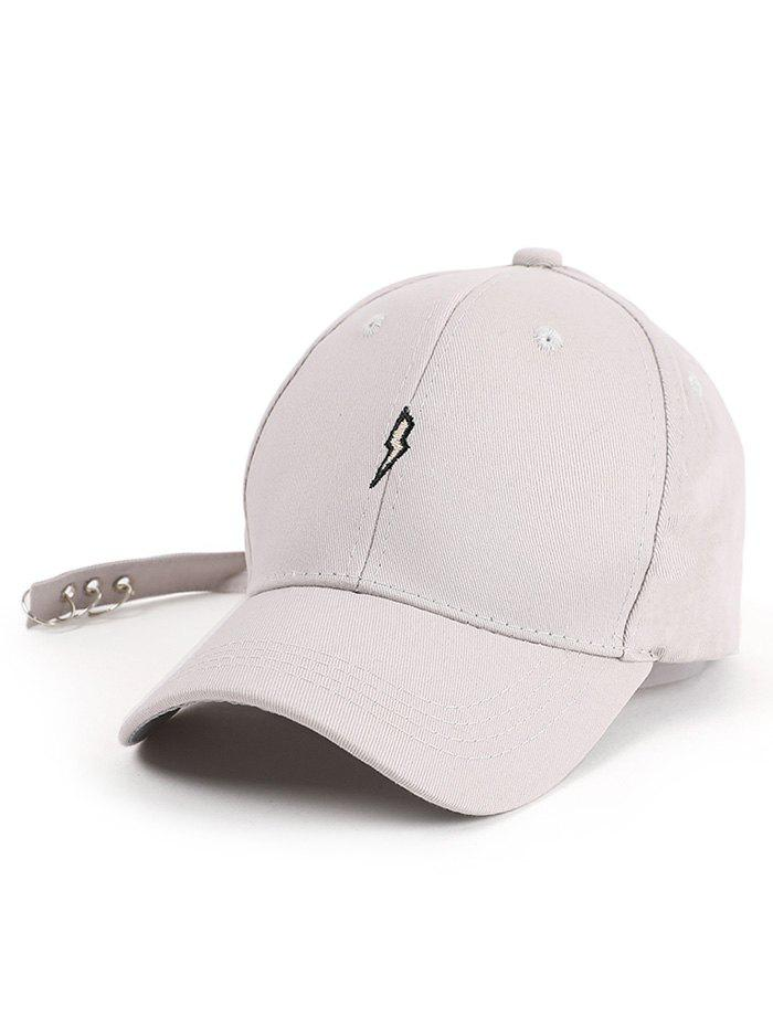 Circles Long Tail Lightning Embroidered Baseball Hat - LIGHT GRAY