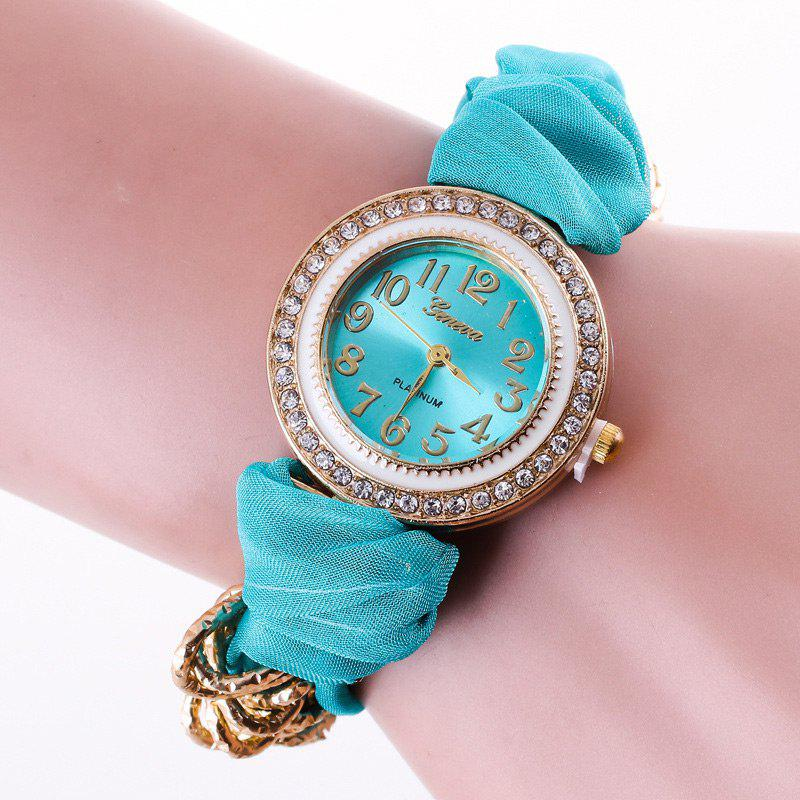Rhinestone Number Fabric Bracelet Watch - MINT