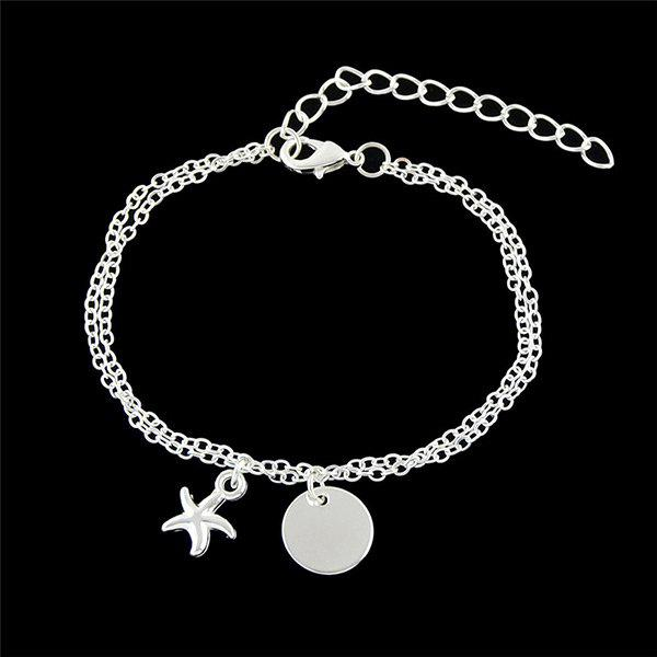 Disc Starfish Charm Chain Bracelet zoobles twobles starfish