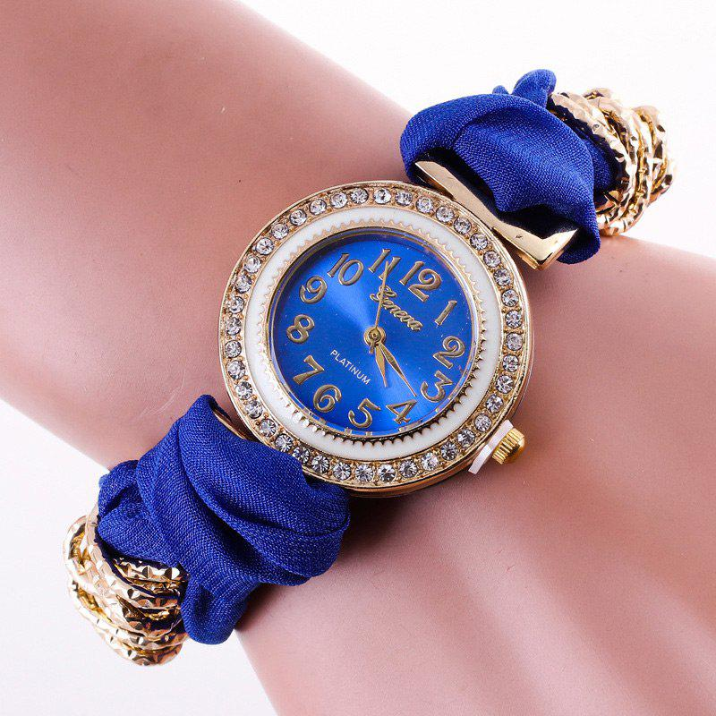 2018 montre bracelet analogique en strass avec sangles en tissu bleu in montres femme online. Black Bedroom Furniture Sets. Home Design Ideas