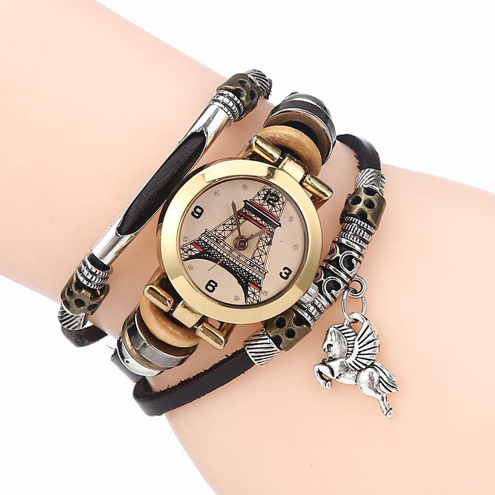 Effiel Tower Charm Bracelet Watch - BLACK