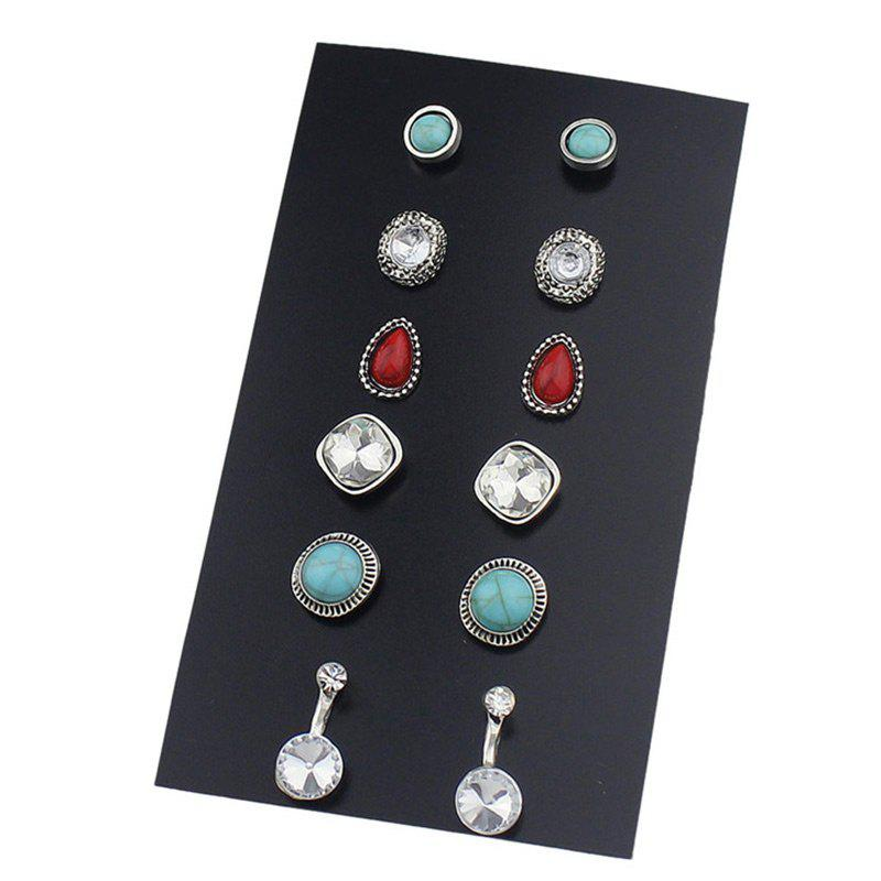 Rhinestone Faux Gem Turquoise Earring Set faux turquoise rose flower oval leaf earring set