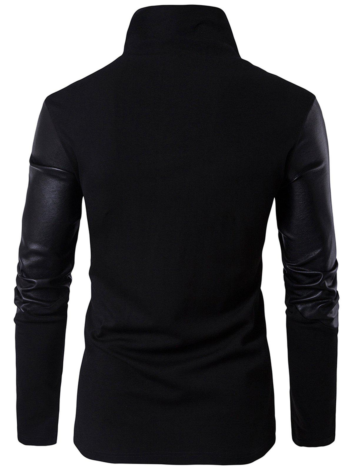 Asymmetrical Zip Faux Leather Insert Pullover Top - BLACK M
