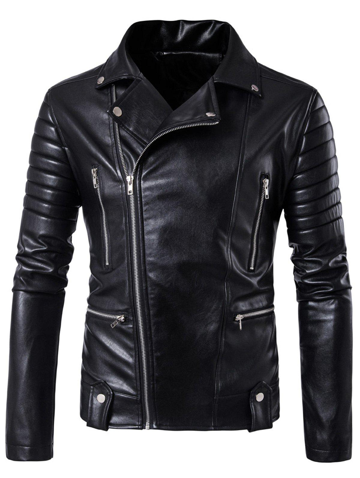 Asymmetrical Zip Up Biker Jacket with Pockets