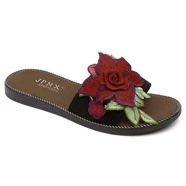 Embroidering Flower Flat Heel Slippers - BLACK 39