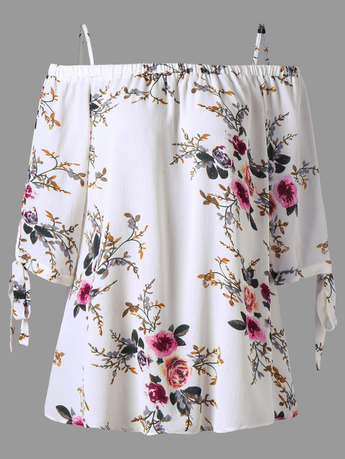 Plus Size Floral Cold Shoulder Blouse - WHITE XL