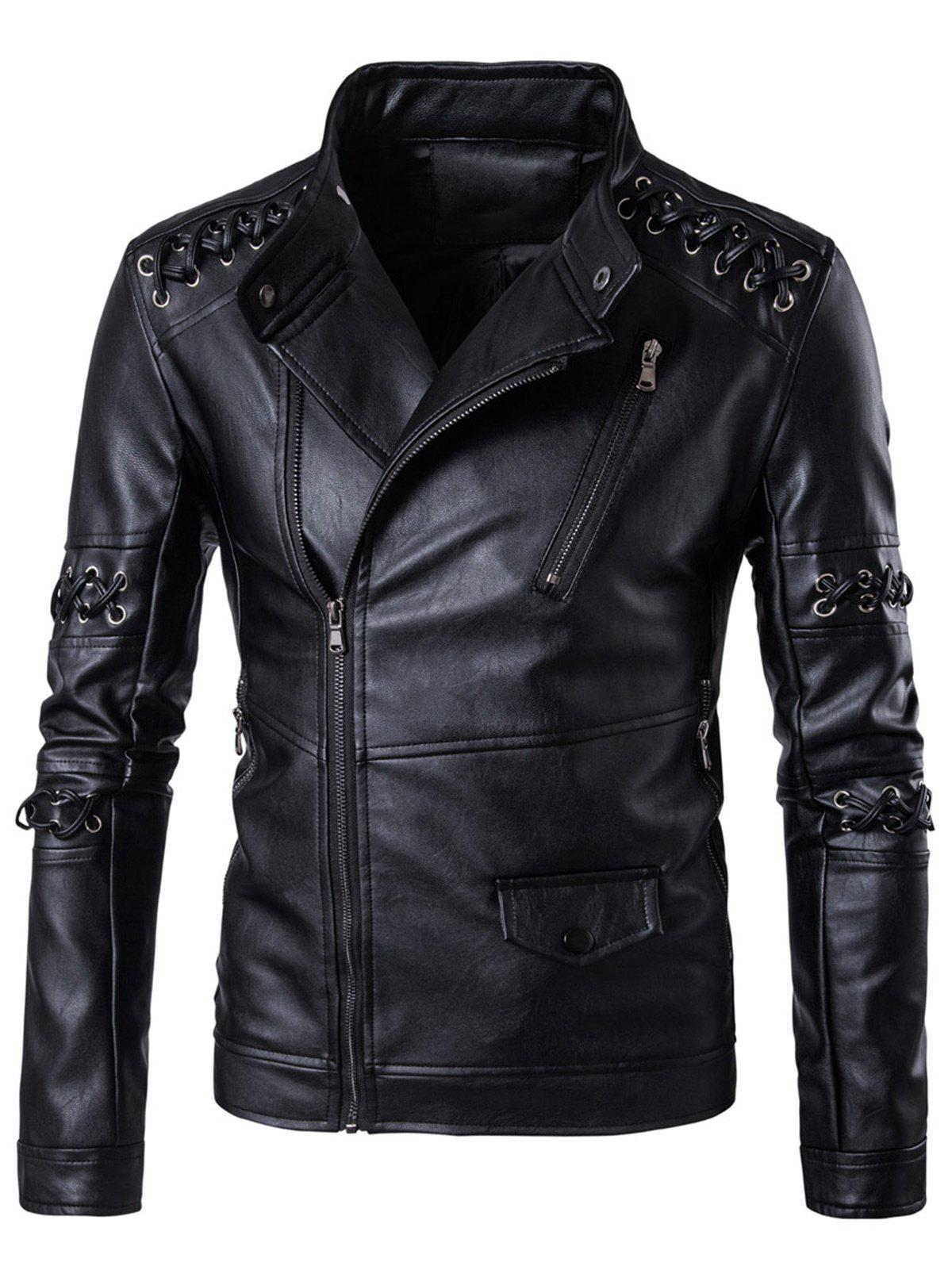 Asymétrique Zip Up Sennit Design Biker Jacket - Noir M