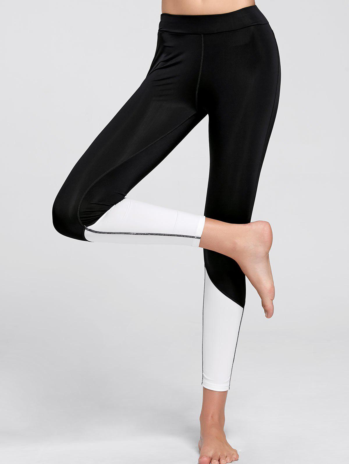 Color Block  Ankle Compression Leggings - BLACK M