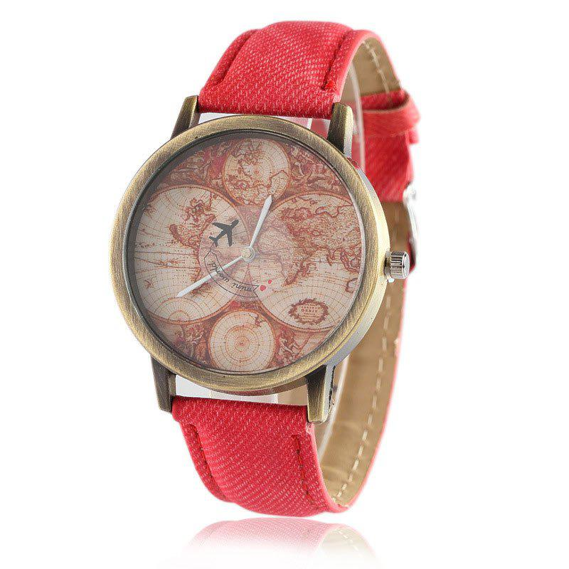 World Map Airplane Faux Leather Watch - RED
