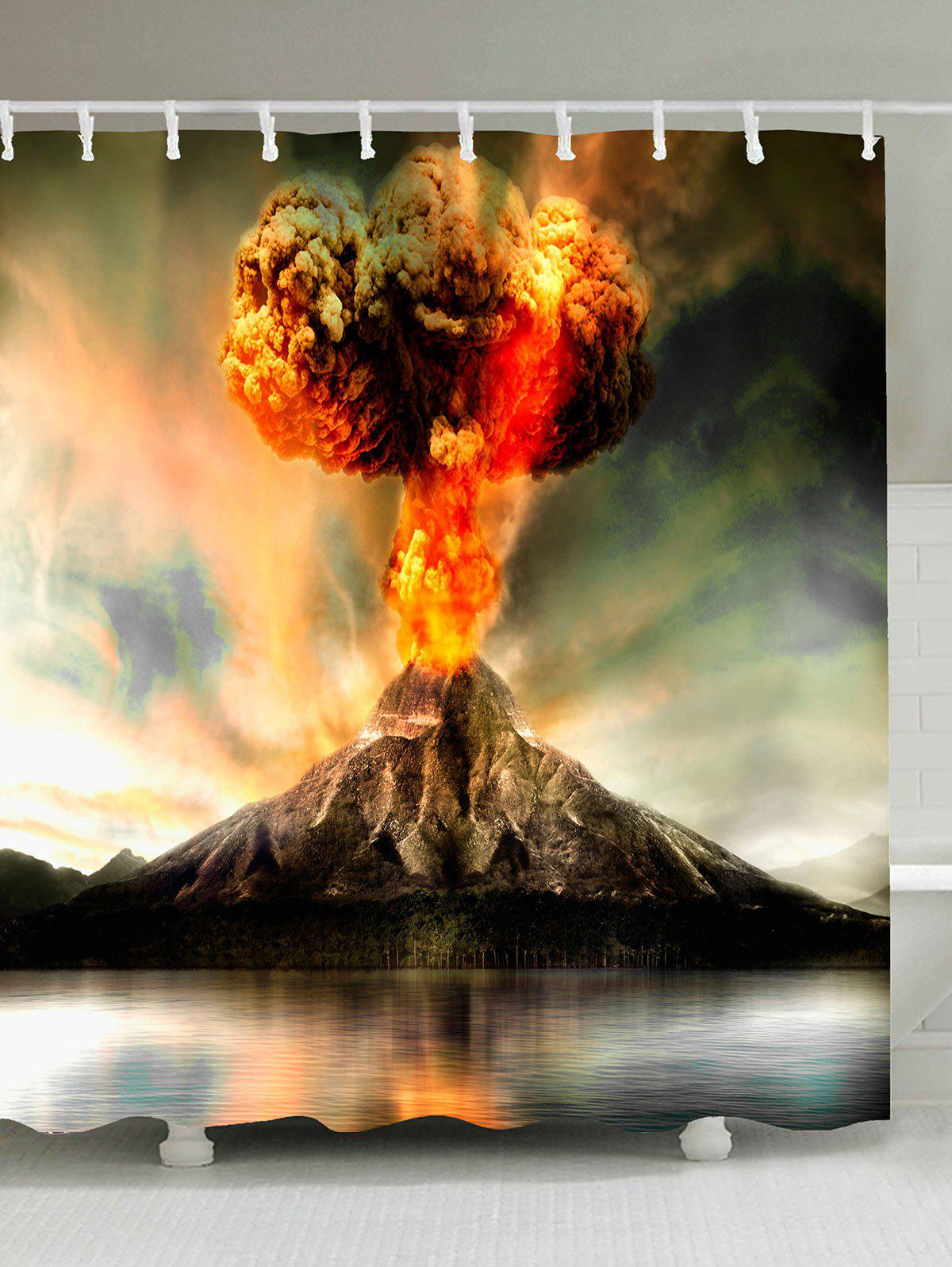 Waterproof Volcano Erupting Shower Curtain - COLORFUL W59 INCH * L71 INCH