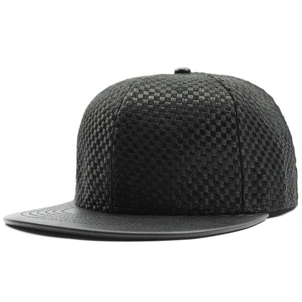 Flat Brim Splicing Tiny Plaid Baseball Cap - Noir