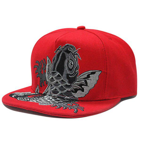 Fantaisie Carbone Embellished Flat Brim Baseball Cap - Rouge