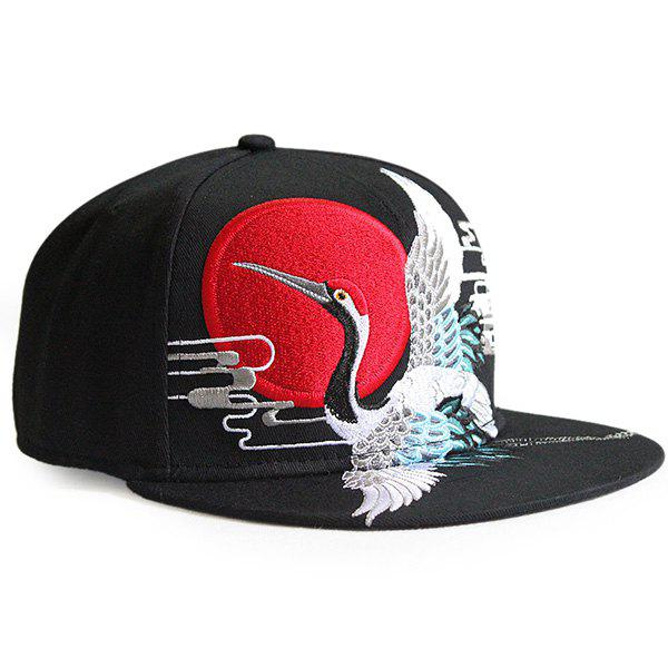 Red Crowned Crane Embroidered Retro Baseball Cap - BLACK
