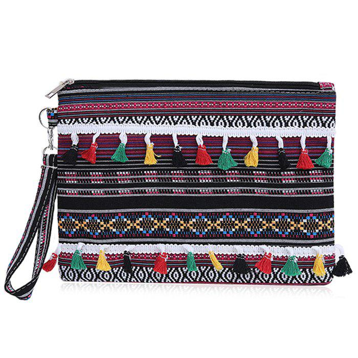 Canvas Ethnic Clutch Bag - BLACK